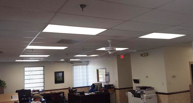 lighting retrofit job for a business office, picture of a business office with a lighting retrofit job, energy solutions, energy savings, bse lighting solutions
