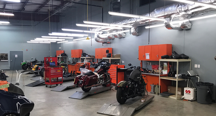 rock n roll harley davidson after bse lighting replaced the lights at one of their locations, bse lighting solutions rock n roll harley davidson lighting retrofit review
